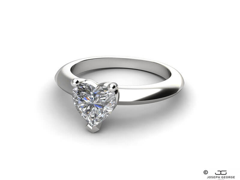 The Niobe engagement ring with its charming heart cut diamond.