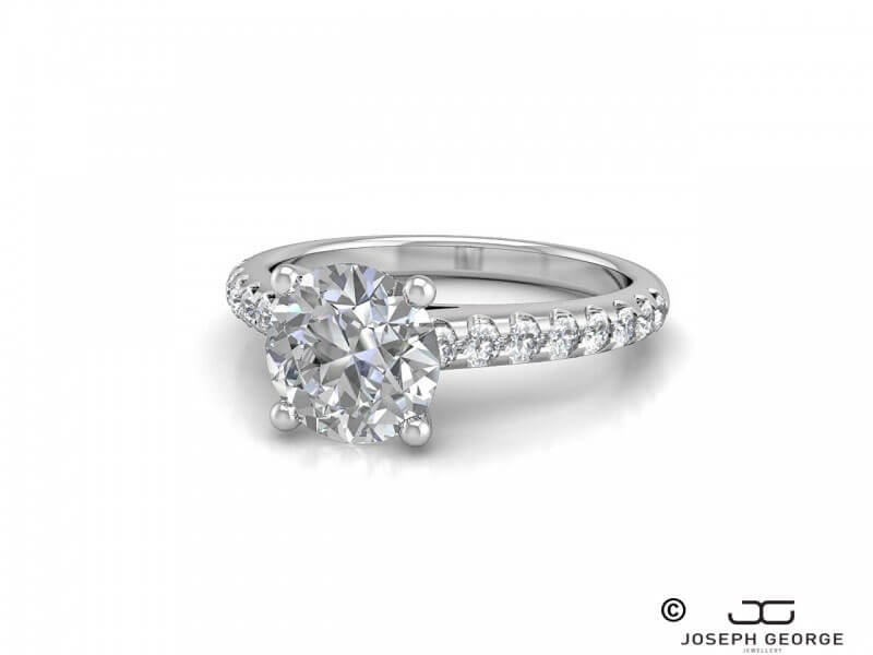 The Marina engagement ring features a stunning round brilliant diamond.