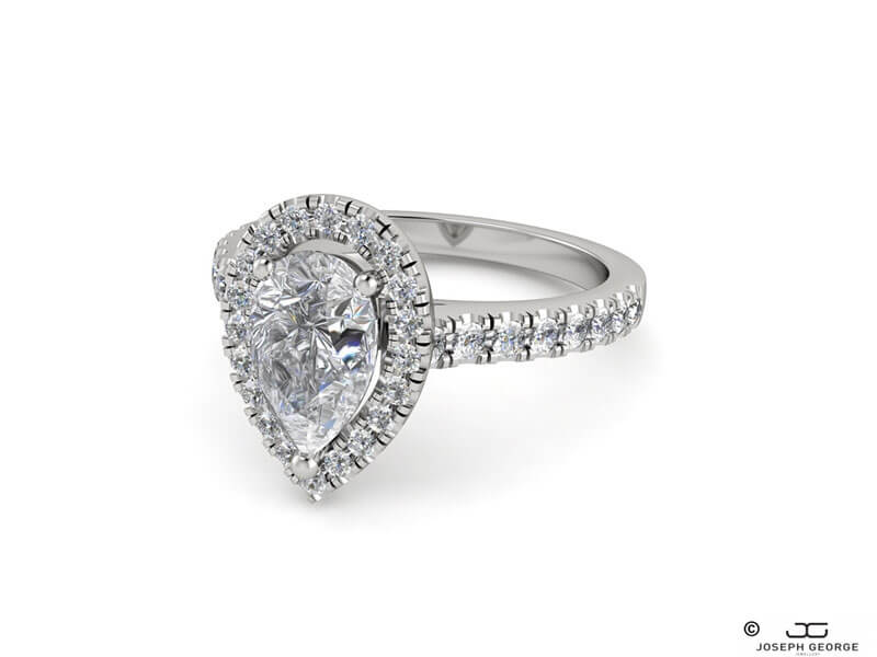 A pear cut diamond is the star attraction in the Xanthe engagement ring.