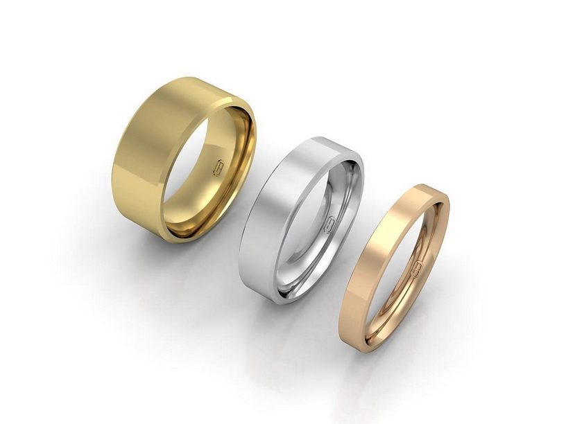 Flat wedding ring with bevelled edge